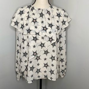 Zara white & black star long sleeve ruffle shirt